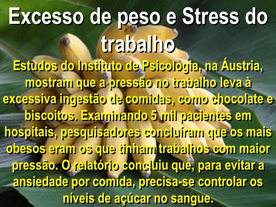 Excesso de peso e Stress do trabalho Estudos do Instituto de Psicologia, na Áustria, mostram que a pressão no trabalho leva à excessiva ingestão de co