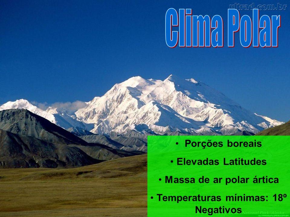 Porções boreais Elevadas Latitudes Massa de ar polar ártica Temperaturas mínimas: 18º Negativos