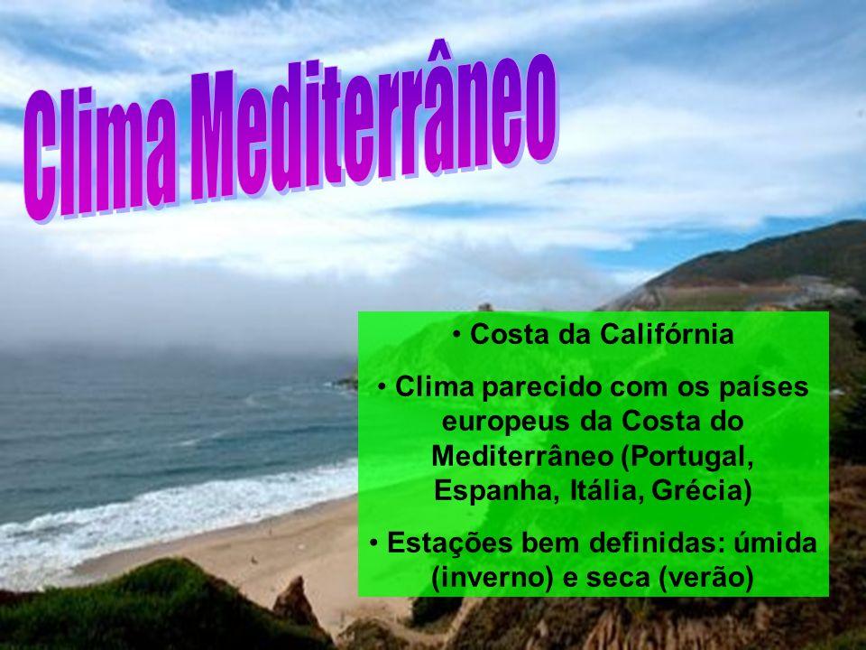 Costa da Califórnia Clima parecido com os países europeus da Costa do Mediterrâneo (Portugal, Espanha, Itália, Grécia) Estações bem definidas: úmida (inverno) e seca (verão)