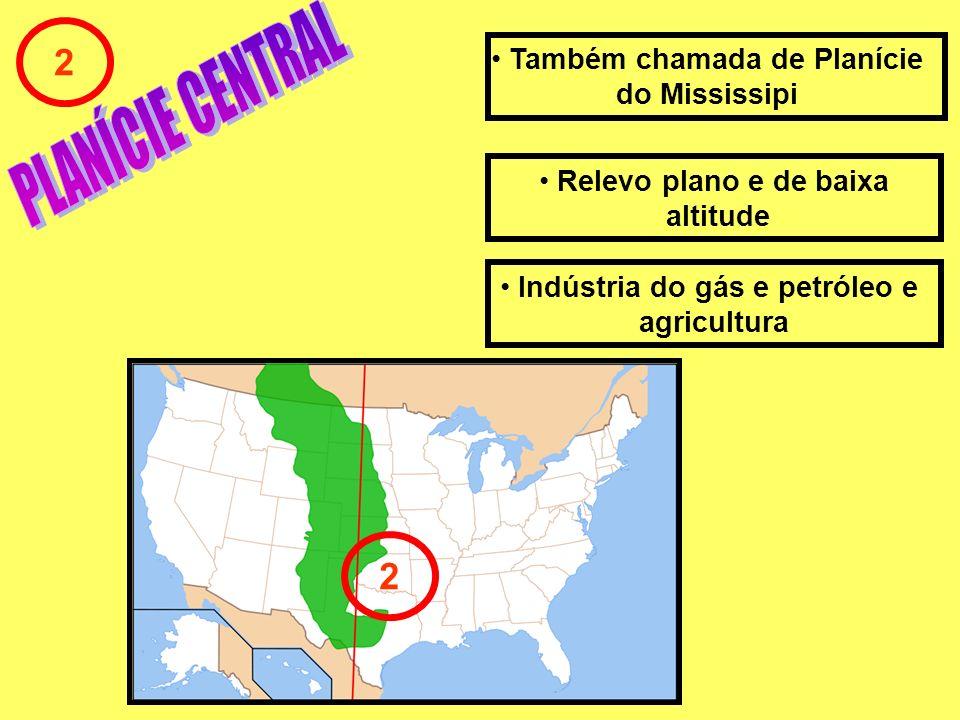 2 Relevo plano e de baixa altitude Também chamada de Planície do Mississipi 2 Indústria do gás e petróleo e agricultura