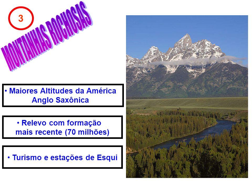 3 Relevo com formação mais recente (70 milhões) Maiores Altitudes da América Anglo Saxônica Turismo e estações de Esqui