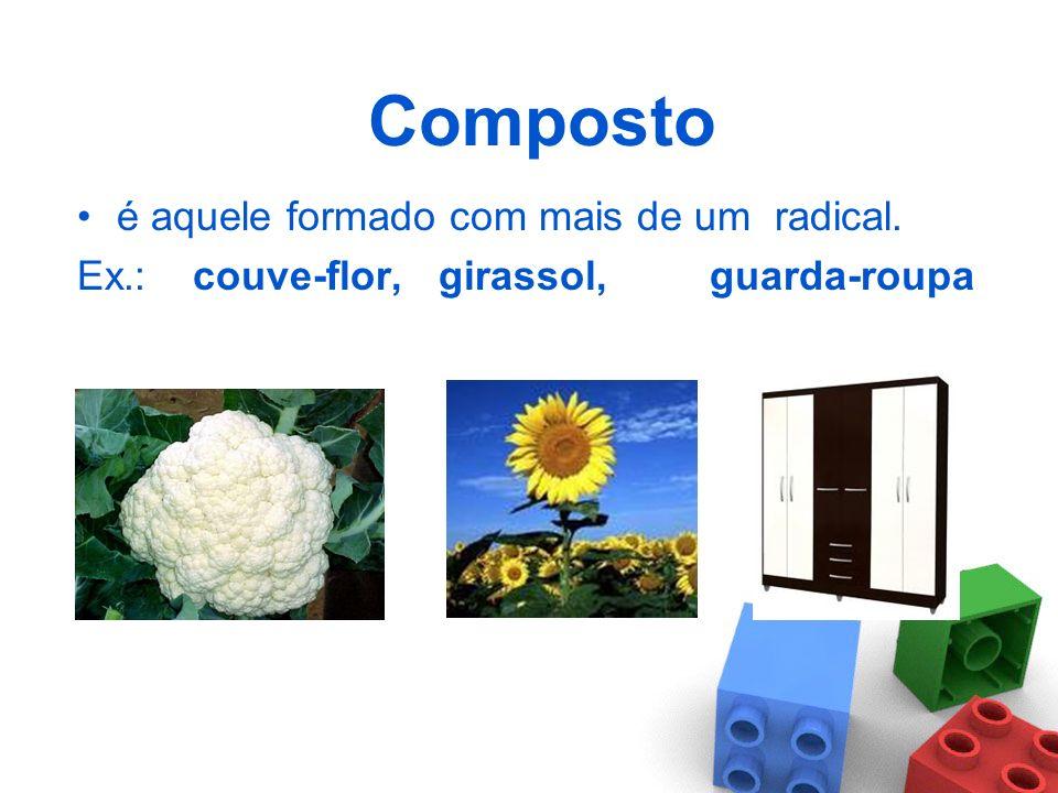 Simples é aquele formado de apenas um radical. Ex.: flor, roupa, sol