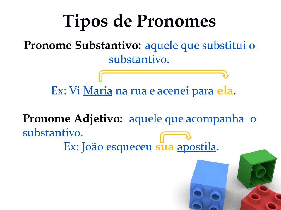 PRONOME Palavra que acompanha ou substitui um substantivo em relação às pessoas do discurso. São palavras variáveis em género e em número que se utili