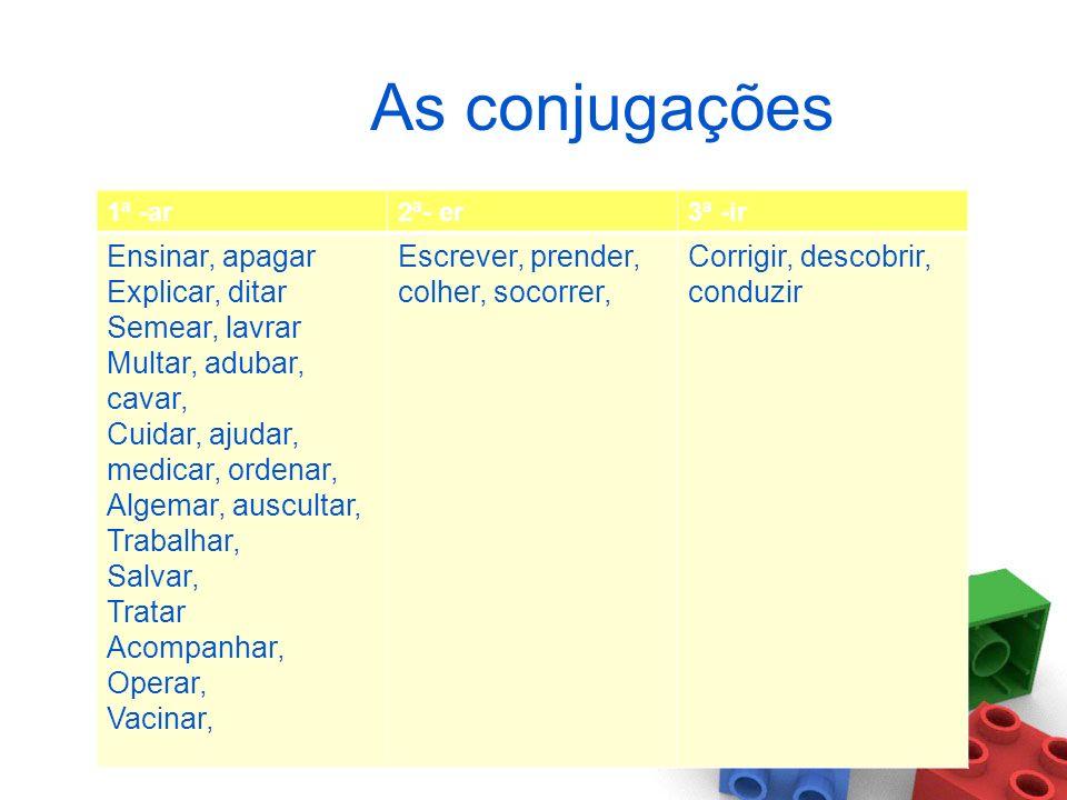 CONJUGAÇÃO DO VERBO Há três conjugações dos verbos caracterizadas pela vogal temática: 1ª conjugação: aaa 1ª conjugação: verbos que terminam em vogal