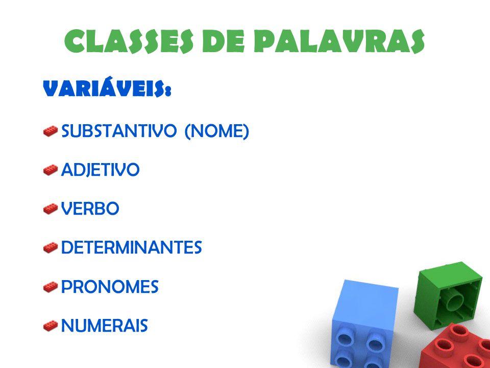 CLASSES DE PALAVRAS VARIÁVEIS: SUBSTANTIVO (NOME) ADJETIVO VERBO DETERMINANTES PRONOMES NUMERAIS