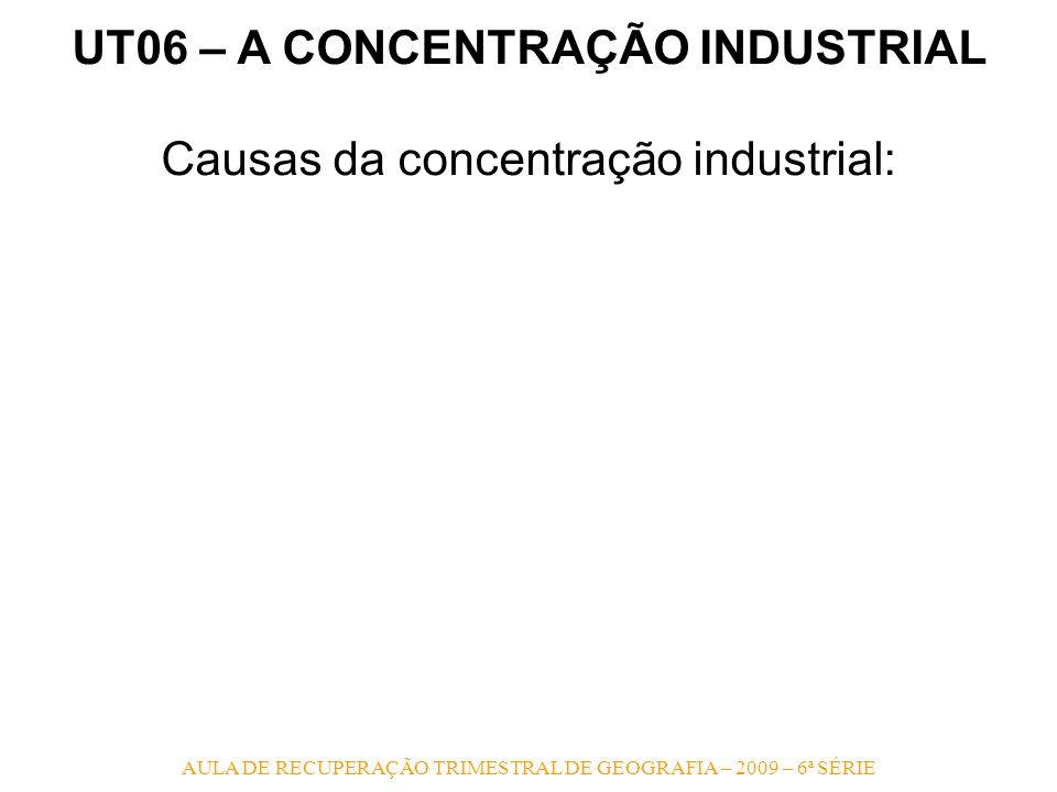 AULA DE RECUPERAÇÃO TRIMESTRAL DE GEOGRAFIA – 2009 – 6ª SÉRIE UT06 – A CONCENTRAÇÃO INDUSTRIAL Causas da concentração industrial: