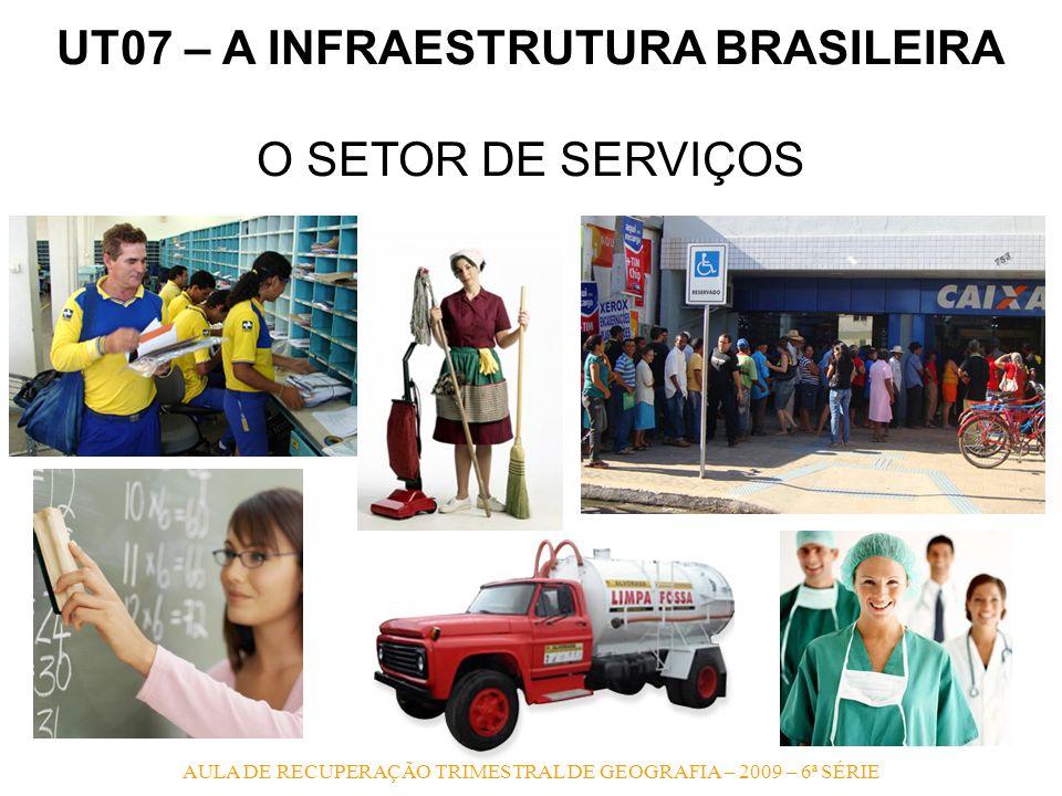 AULA DE RECUPERAÇÃO TRIMESTRAL DE GEOGRAFIA – 2009 – 6ª SÉRIE UT07 – A INFRAESTRUTURA BRASILEIRA O SETOR DE SERVIÇOS