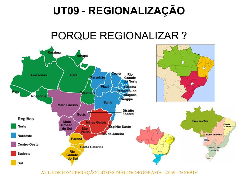 AULA DE RECUPERAÇÃO TRIMESTRAL DE GEOGRAFIA – 2009 – 6ª SÉRIE UT09 - REGIONALIZAÇÃO PORQUE REGIONALIZAR ?