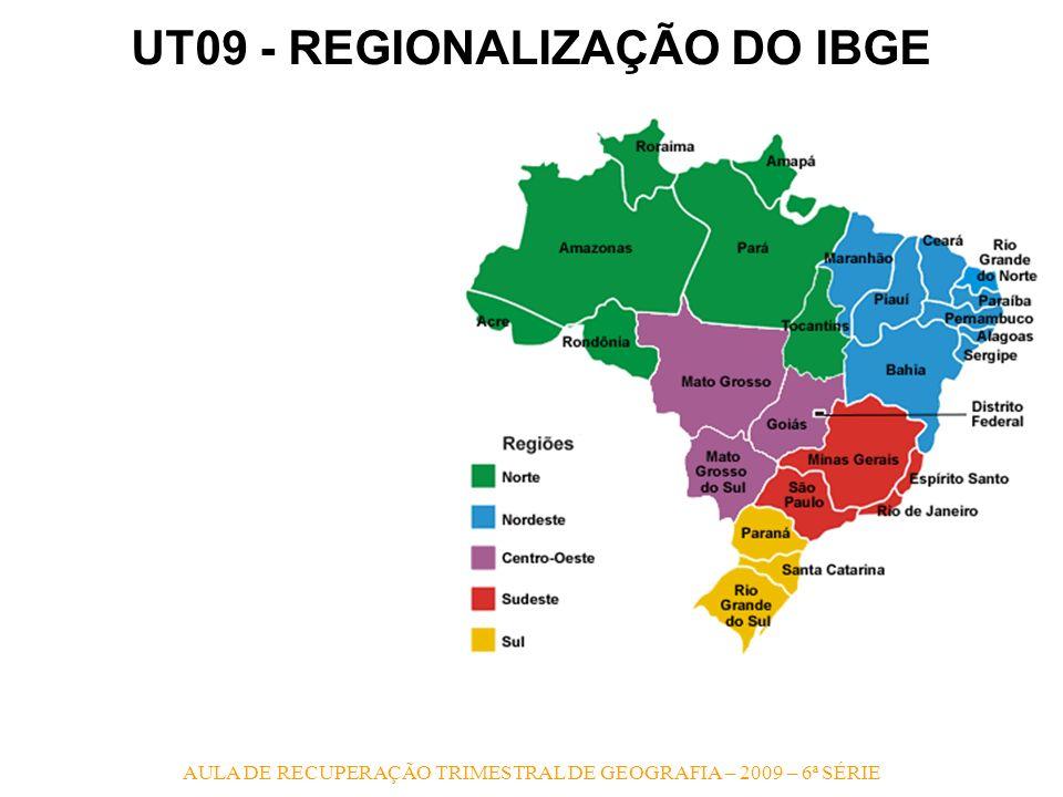 AULA DE RECUPERAÇÃO TRIMESTRAL DE GEOGRAFIA – 2009 – 6ª SÉRIE UT09 - REGIONALIZAÇÃO DO IBGE