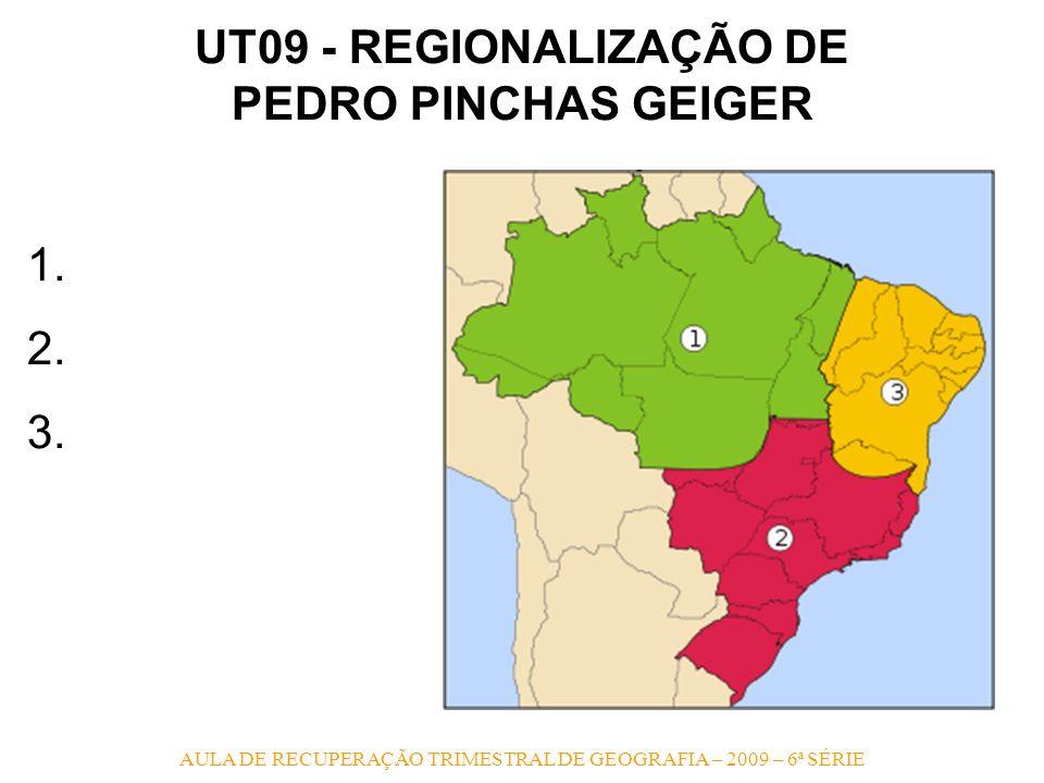 AULA DE RECUPERAÇÃO TRIMESTRAL DE GEOGRAFIA – 2009 – 6ª SÉRIE UT09 - REGIONALIZAÇÃO DE PEDRO PINCHAS GEIGER 1. 2. 3.