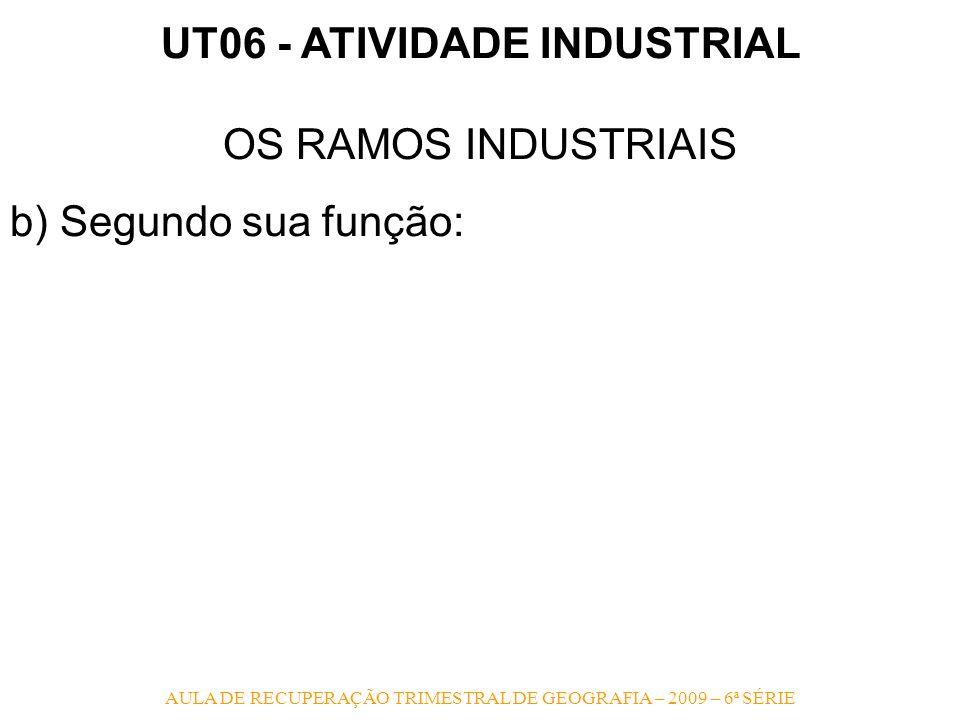 AULA DE RECUPERAÇÃO TRIMESTRAL DE GEOGRAFIA – 2009 – 6ª SÉRIE UT06 - ATIVIDADE INDUSTRIAL OS RAMOS INDUSTRIAIS b) Segundo sua função: