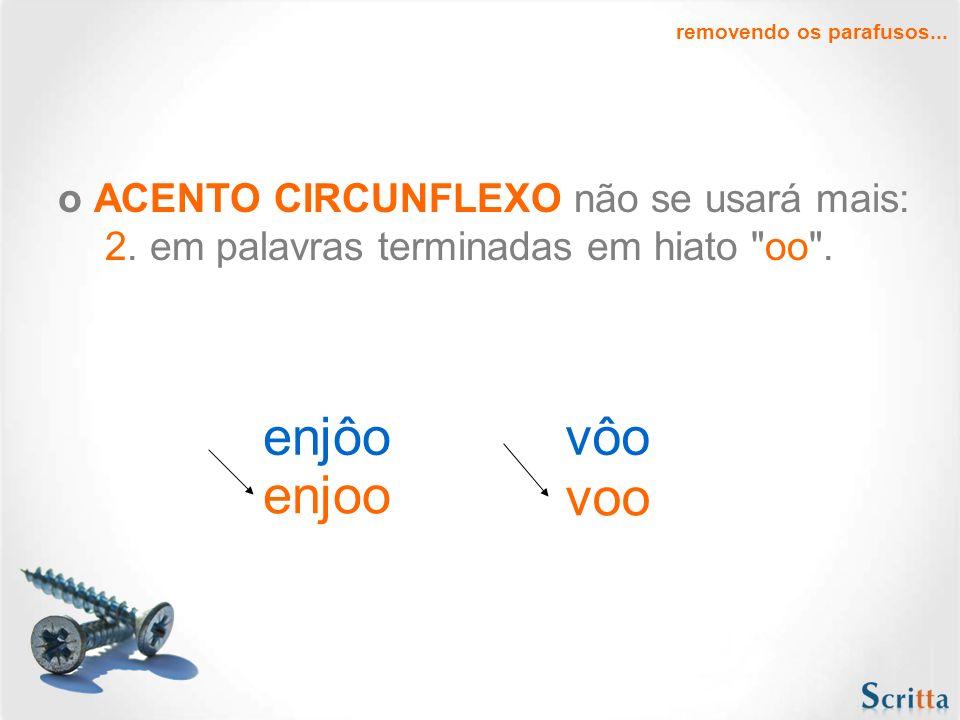 o ACENTO CIRCUNFLEXO não se usará mais: 1. nas terceiras pessoas do plural do presente do indicativo ou do subjuntivo dos verbos
