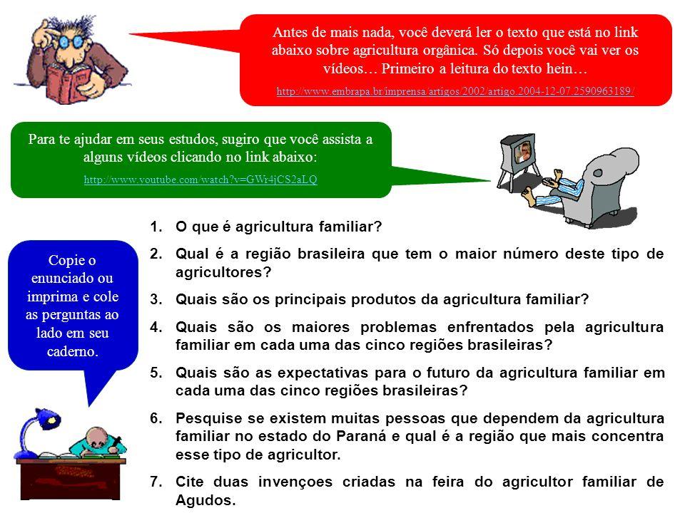 1.O que é agricultura familiar? 2.Qual é a região brasileira que tem o maior número deste tipo de agricultores? 3.Quais são os principais produtos da