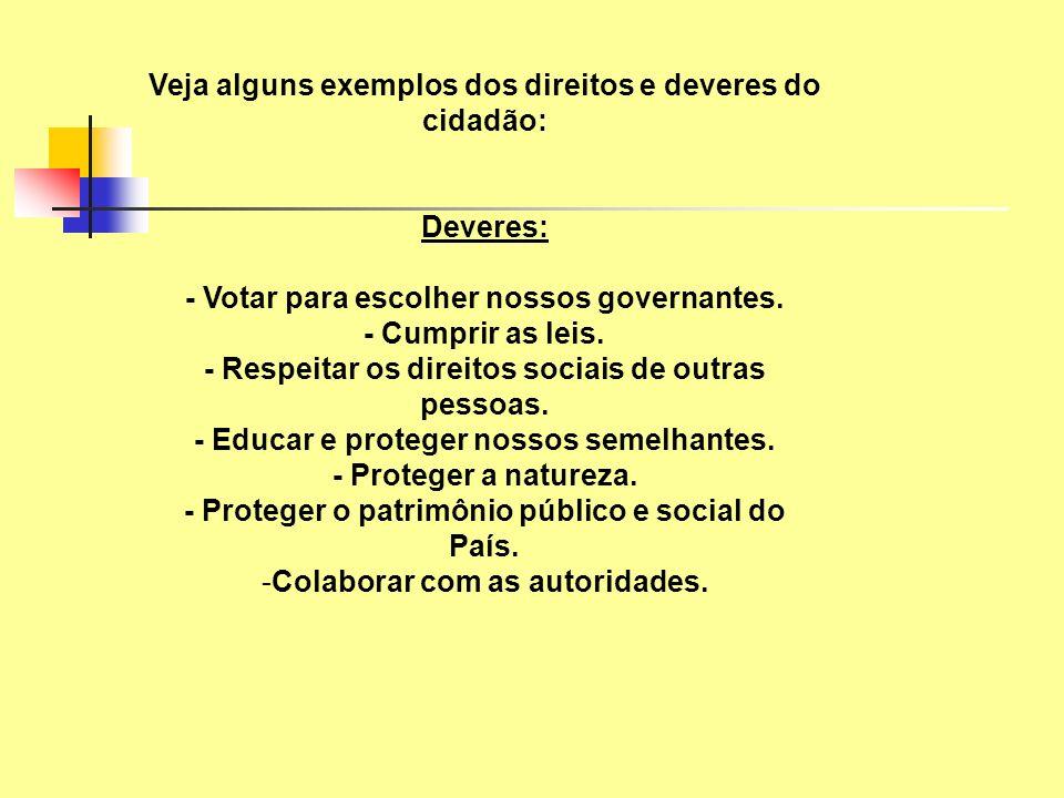 Veja alguns exemplos dos direitos e deveres do cidadão: Deveres: - Votar para escolher nossos governantes. - Cumprir as leis. - Respeitar os direitos