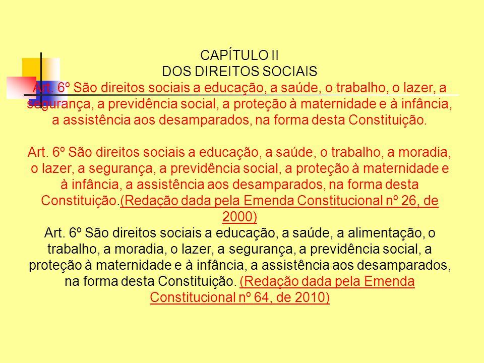 CAPÍTULO II DOS DIREITOS SOCIAIS Art. 6º São direitos sociais a educação, a saúde, o trabalho, o lazer, a segurança, a previdência social, a proteção