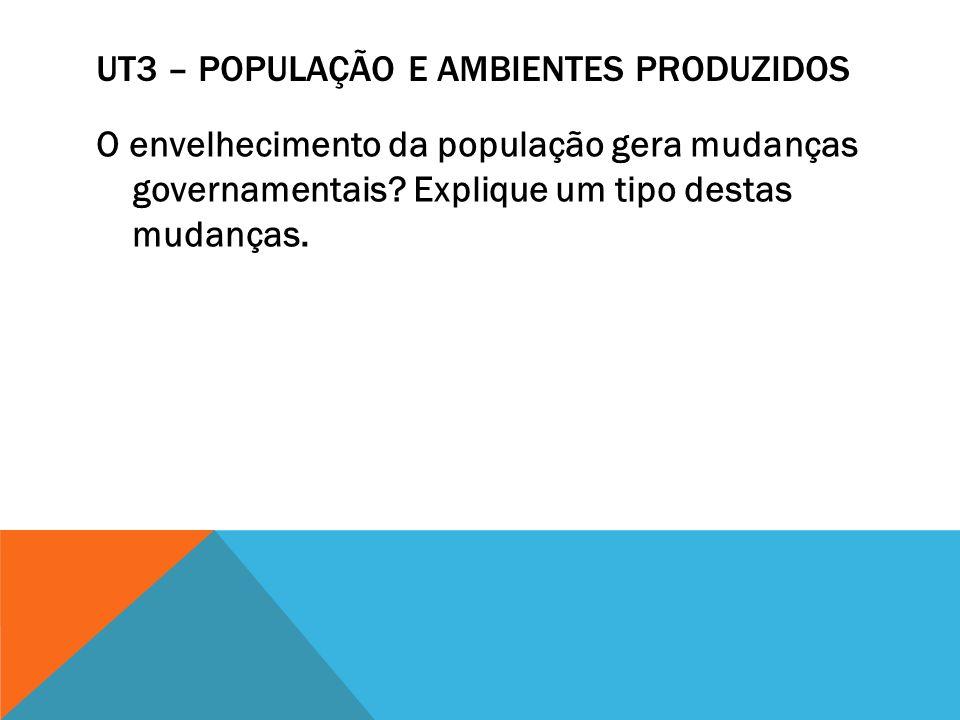UT3 – POPULAÇÃO E AMBIENTES PRODUZIDOS O envelhecimento da população gera mudanças governamentais? Explique um tipo destas mudanças.