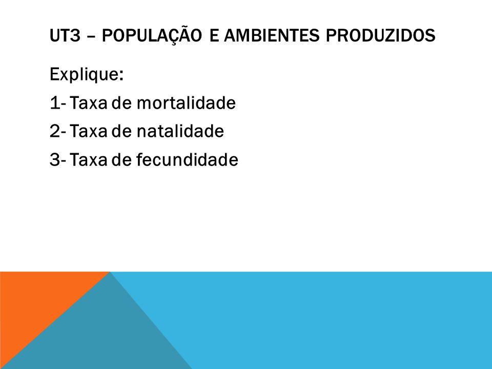 UT3 – POPULAÇÃO E AMBIENTES PRODUZIDOS Explique: 1- Taxa de mortalidade 2- Taxa de natalidade 3- Taxa de fecundidade