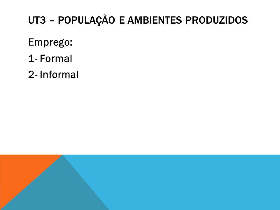 UT3 – POPULAÇÃO E AMBIENTES PRODUZIDOS Emprego: 1- Formal 2- Informal