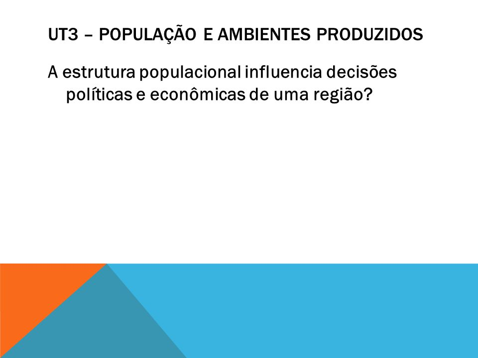 UT3 – POPULAÇÃO E AMBIENTES PRODUZIDOS A estrutura populacional influencia decisões políticas e econômicas de uma região?