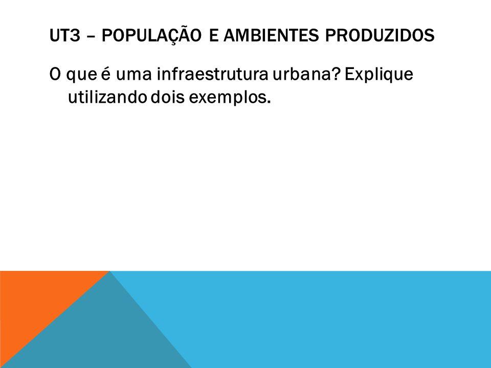 UT3 – POPULAÇÃO E AMBIENTES PRODUZIDOS O que é uma infraestrutura urbana? Explique utilizando dois exemplos.