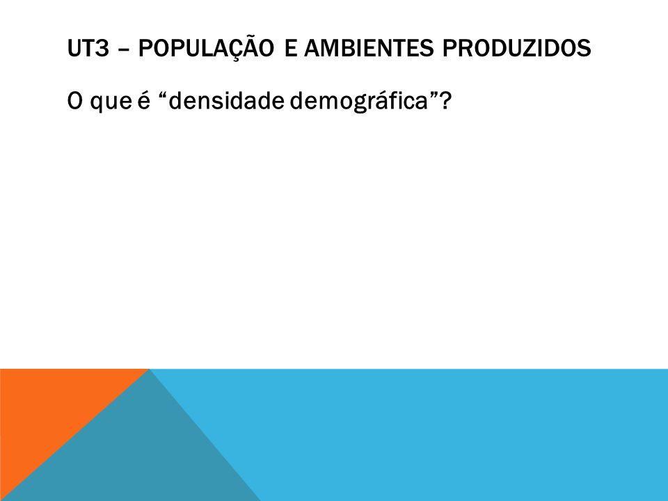 UT3 – POPULAÇÃO E AMBIENTES PRODUZIDOS O que é densidade demográfica?