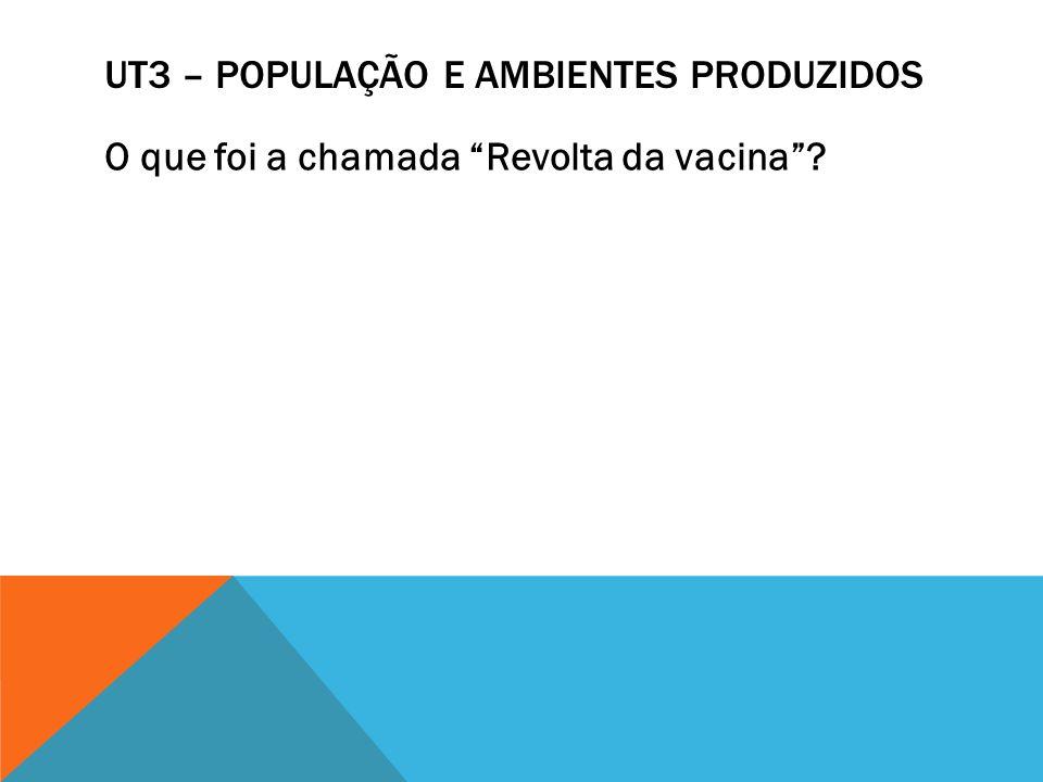 UT3 – POPULAÇÃO E AMBIENTES PRODUZIDOS O que foi a chamada Revolta da vacina?