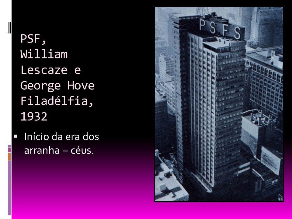 PSF, William Lescaze e George Hove Filadélfia, 1932 Início da era dos arranha – céus.