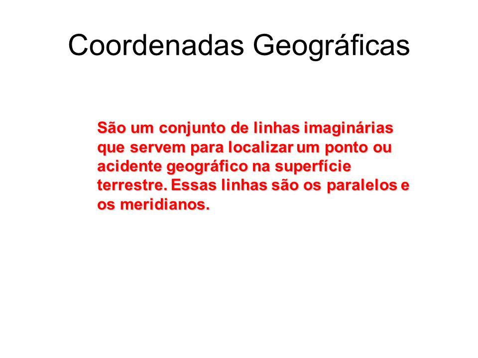 Coordenadas Geográficas São um conjunto de linhas imaginárias que servem para localizar um ponto ou acidente geográfico na superfície terrestre. Essas