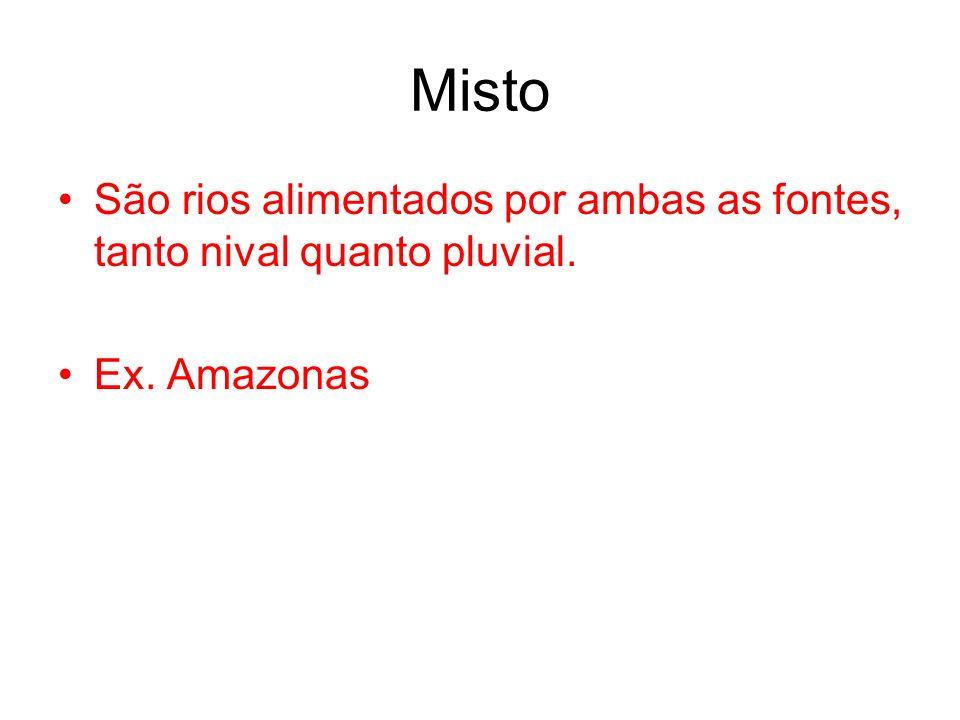 Misto São rios alimentados por ambas as fontes, tanto nival quanto pluvial. Ex. Amazonas