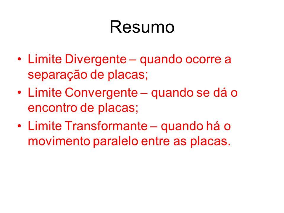 Resumo Limite Divergente – quando ocorre a separação de placas; Limite Convergente – quando se dá o encontro de placas; Limite Transformante – quando