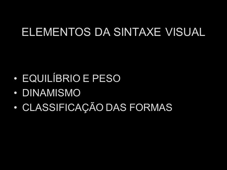 ELEMENTOS DA SINTAXE VISUAL EQUILÍBRIO E PESO DINAMISMO CLASSIFICAÇÃO DAS FORMAS