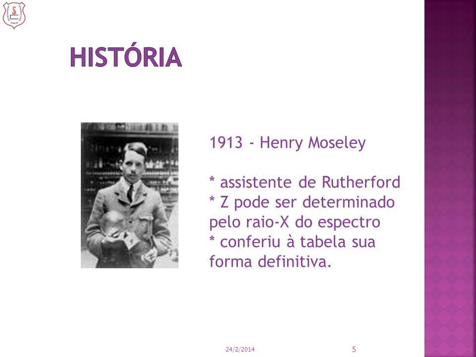 5 1913 - Henry Moseley * assistente de Rutherford * Z pode ser determinado pelo raio-X do espectro * conferiu à tabela sua forma definitiva.