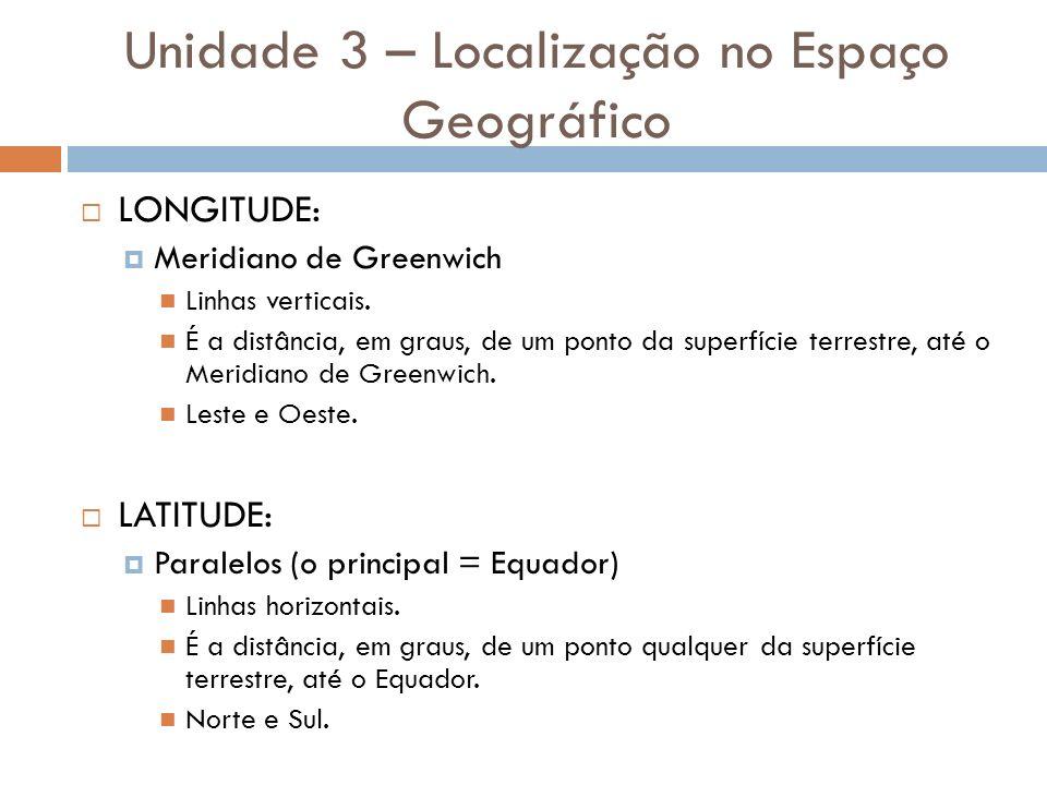 LONGITUDE: Meridiano de Greenwich Linhas verticais. É a distância, em graus, de um ponto da superfície terrestre, até o Meridiano de Greenwich. Leste