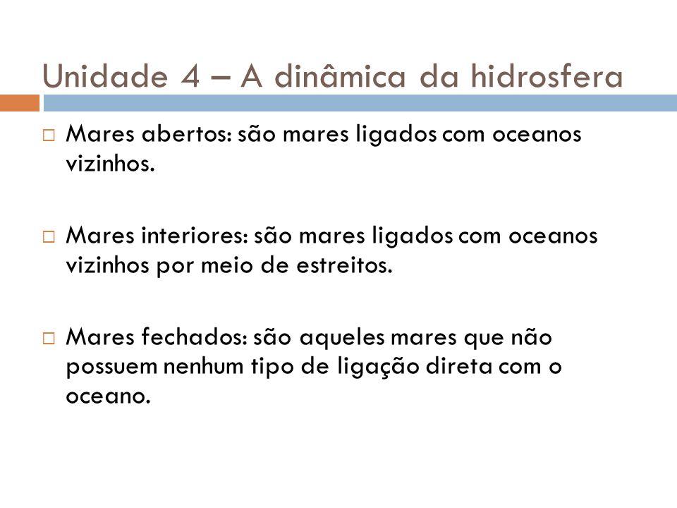 Unidade 4 – A dinâmica da hidrosfera Mares abertos: são mares ligados com oceanos vizinhos. Mares interiores: são mares ligados com oceanos vizinhos p
