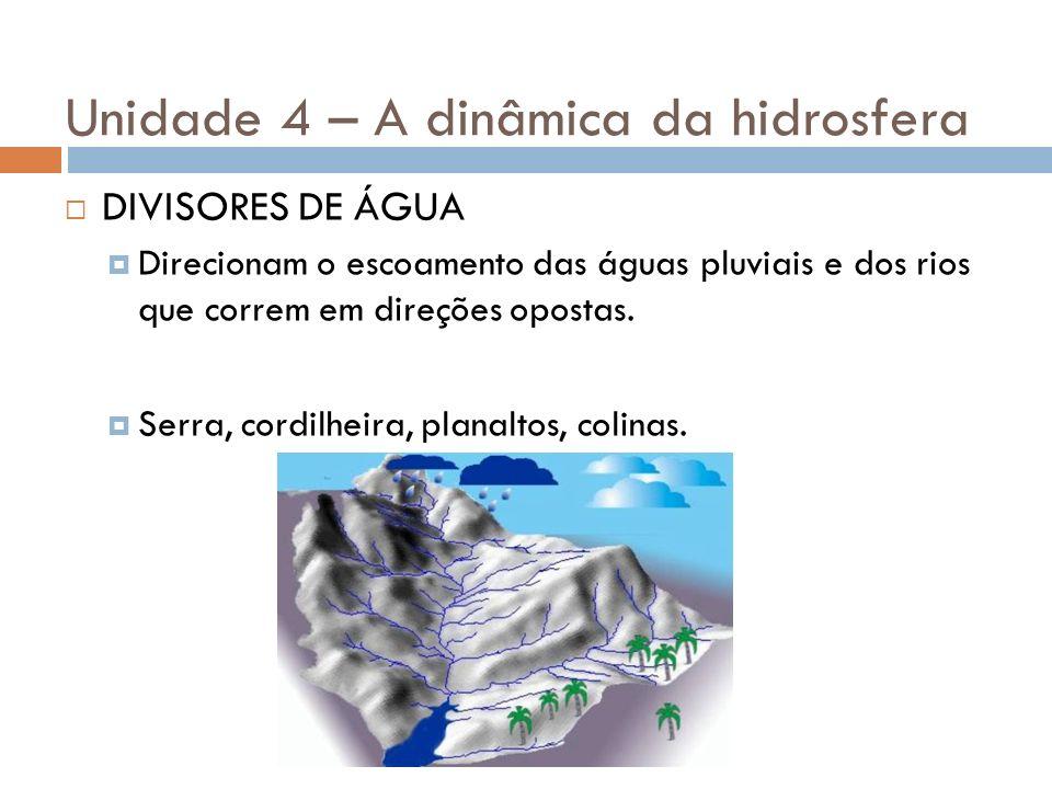 Unidade 4 – A dinâmica da hidrosfera DIVISORES DE ÁGUA Direcionam o escoamento das águas pluviais e dos rios que correm em direções opostas. Serra, co