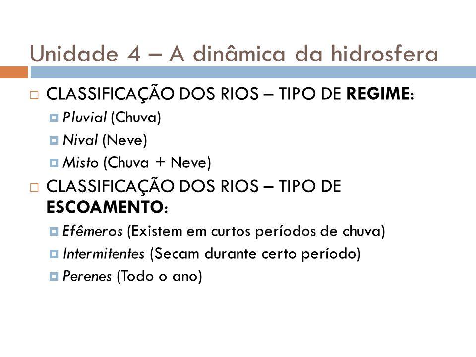 Unidade 4 – A dinâmica da hidrosfera CLASSIFICAÇÃO DOS RIOS – TIPO DE REGIME: Pluvial (Chuva) Nival (Neve) Misto (Chuva + Neve) CLASSIFICAÇÃO DOS RIOS