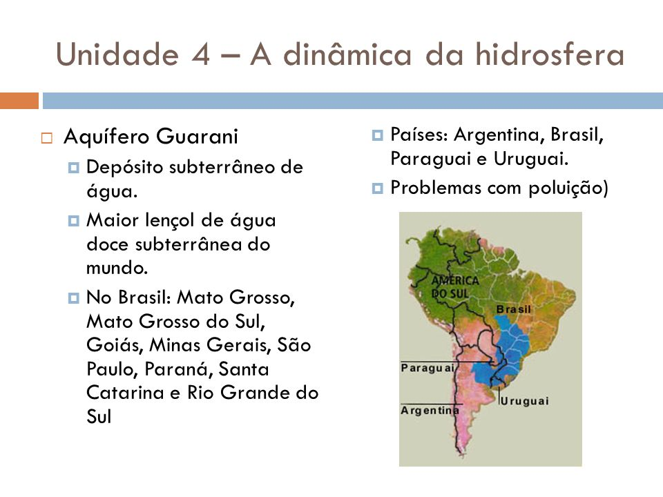 Unidade 4 – A dinâmica da hidrosfera Aquífero Guarani Depósito subterrâneo de água. Maior lençol de água doce subterrânea do mundo. No Brasil: Mato Gr