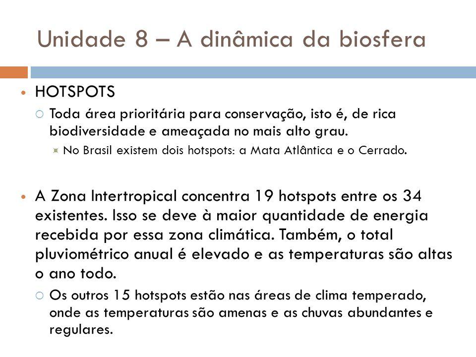 Unidade 8 – A dinâmica da biosfera HOTSPOTS Toda área prioritária para conservação, isto é, de rica biodiversidade e ameaçada no mais alto grau. No Br