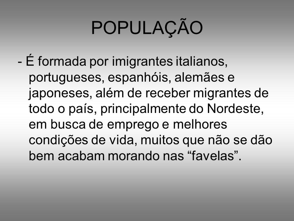 POPULAÇÃO - É formada por imigrantes italianos, portugueses, espanhóis, alemães e japoneses, além de receber migrantes de todo o país, principalmente