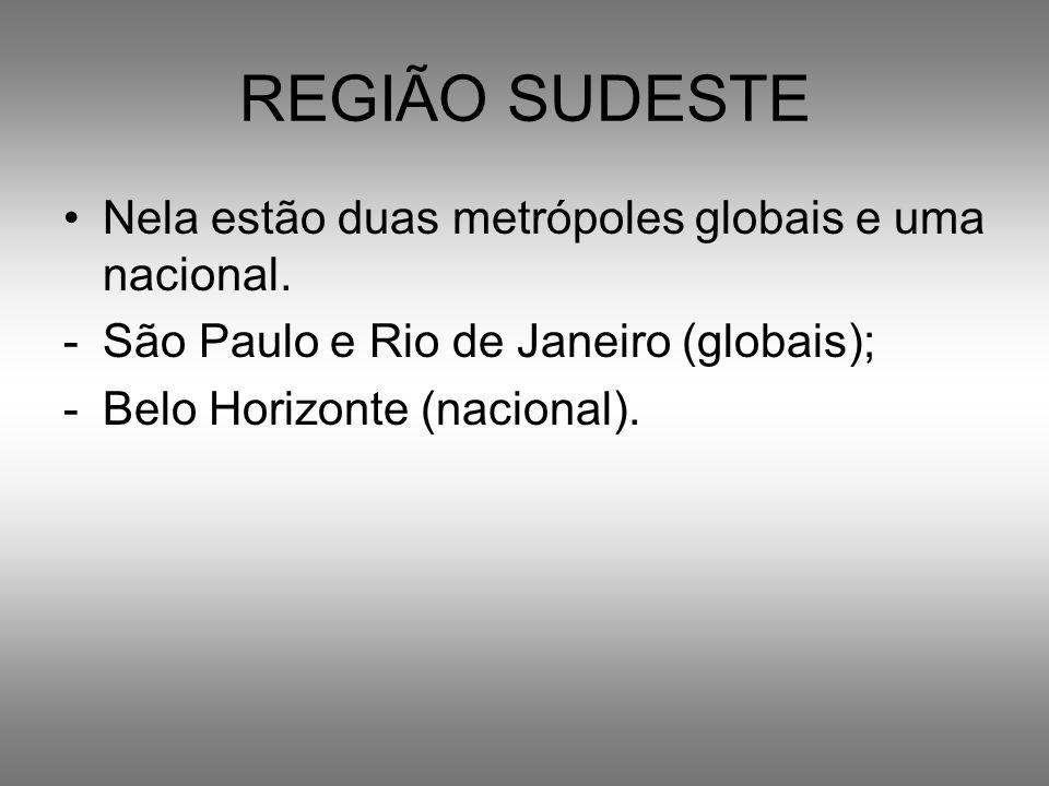 REGIÃO SUDESTE Nela estão duas metrópoles globais e uma nacional. -São Paulo e Rio de Janeiro (globais); -Belo Horizonte (nacional).