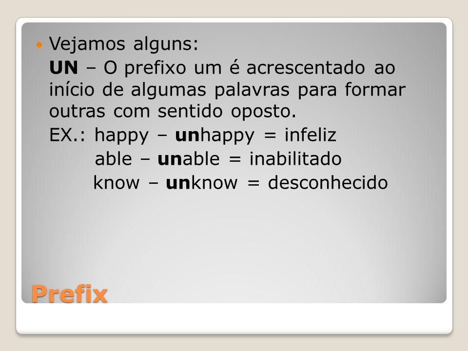 Prefix Vejamos alguns: UN – O prefixo um é acrescentado ao início de algumas palavras para formar outras com sentido oposto. EX.: happy – unhappy = in