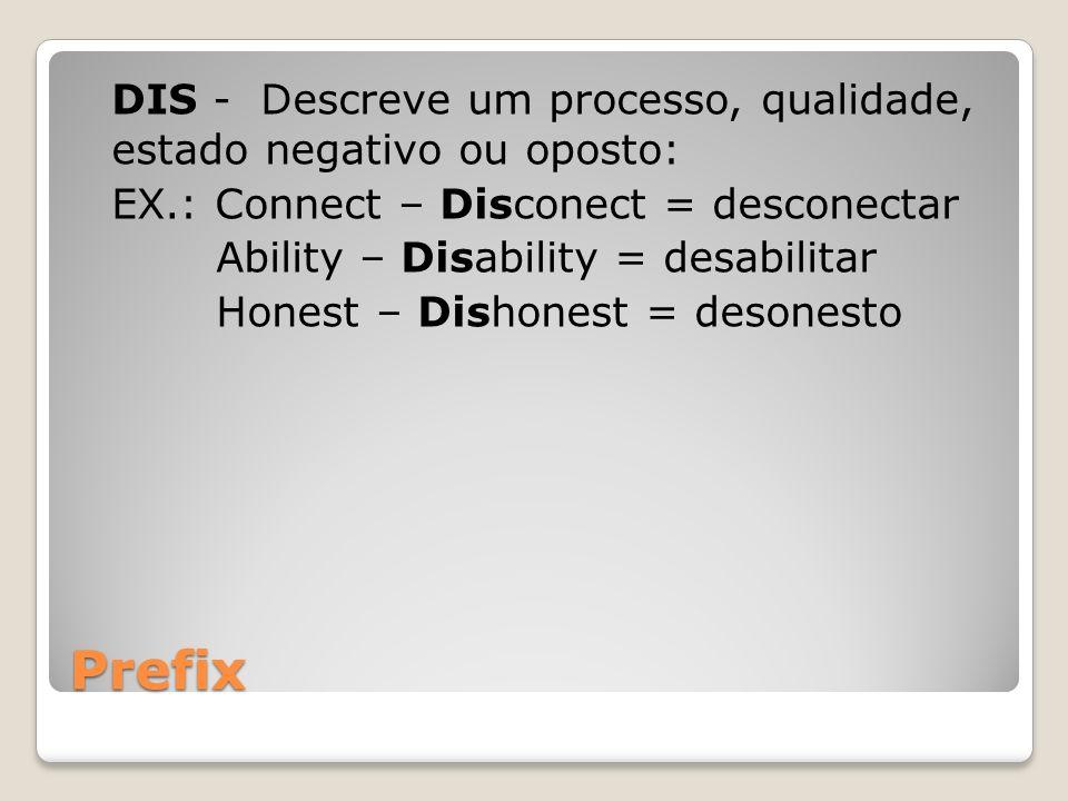 Prefix DIS - Descreve um processo, qualidade, estado negativo ou oposto: EX.: Connect – Disconect = desconectar Ability – Disability = desabilitar Hon