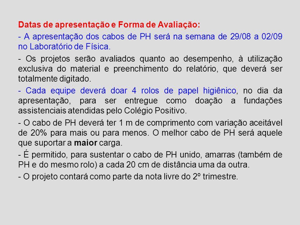 Datas de apresentação e Forma de Avaliação: - A apresentação dos cabos de PH será na semana de 29/08 a 02/09 no Laboratório de Física. - Os projetos s