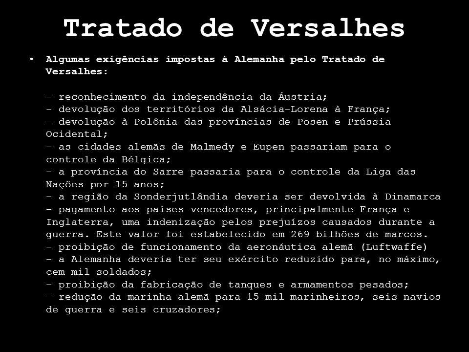 Tratado de Versalhes Algumas exigências impostas à Alemanha pelo Tratado de Versalhes: - reconhecimento da independência da Áustria; - devolução dos t
