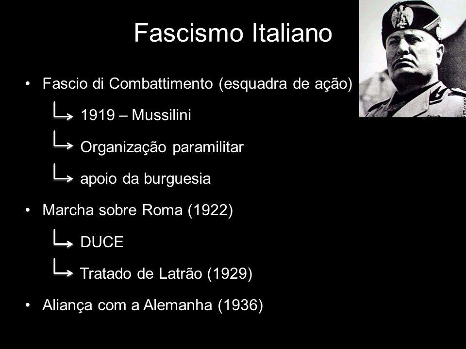 Fascismo Italiano Fascio di Combattimento (esquadra de ação) 1919 – Mussilini Organização paramilitar apoio da burguesia Marcha sobre Roma (1922) DUCE
