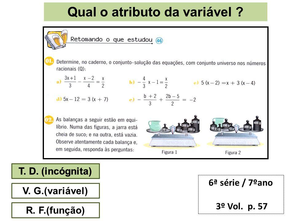 Qual o atributo da variável ? T. D. (incógnita) V. G.(variável) R. F.(função) 6ª série / 7ºano 3º Vol. p. 57 T. D. (incógnita)