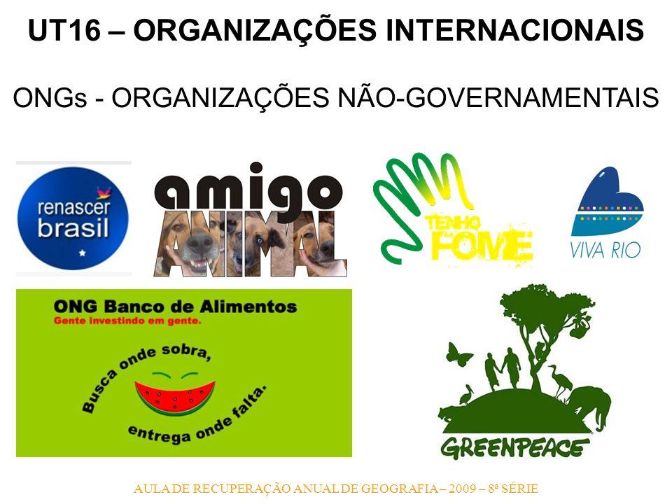 UT16 – ORGANIZAÇÕES INTERNACIONAIS ONGs - ORGANIZAÇÕES NÃO-GOVERNAMENTAIS AULA DE RECUPERAÇÃO ANUAL DE GEOGRAFIA – 2009 – 8ª SÉRIE