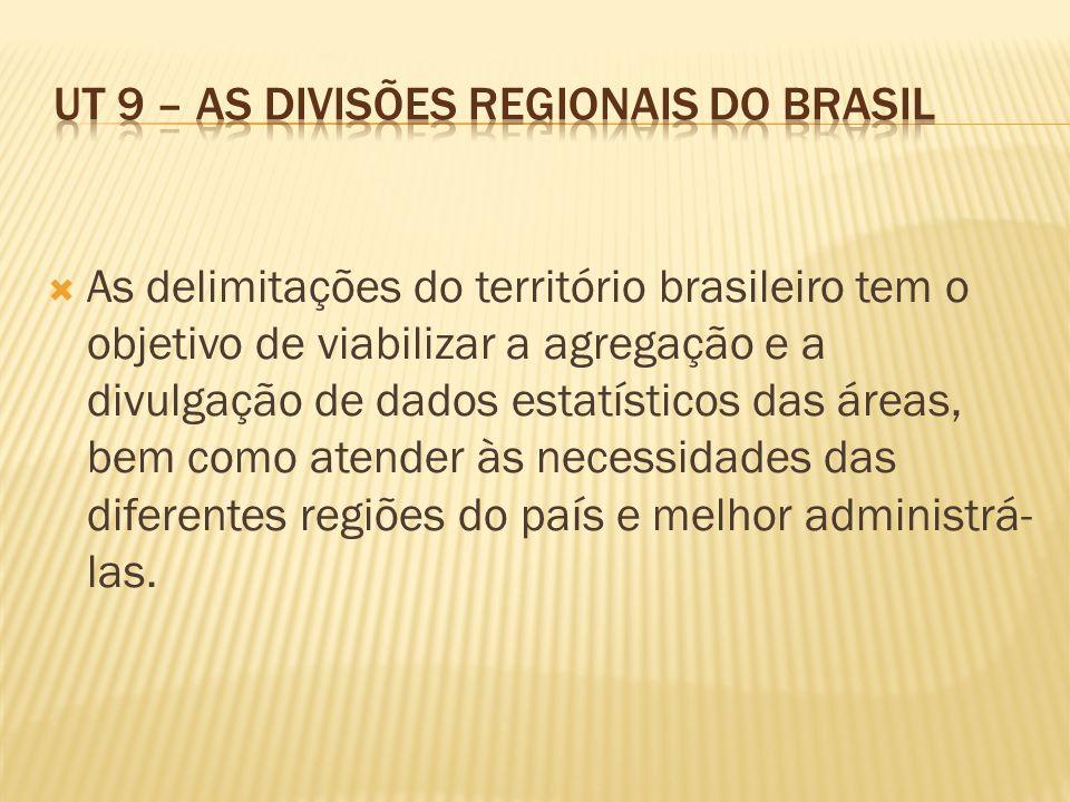 As delimitações do território brasileiro tem o objetivo de viabilizar a agregação e a divulgação de dados estatísticos das áreas, bem como atender às