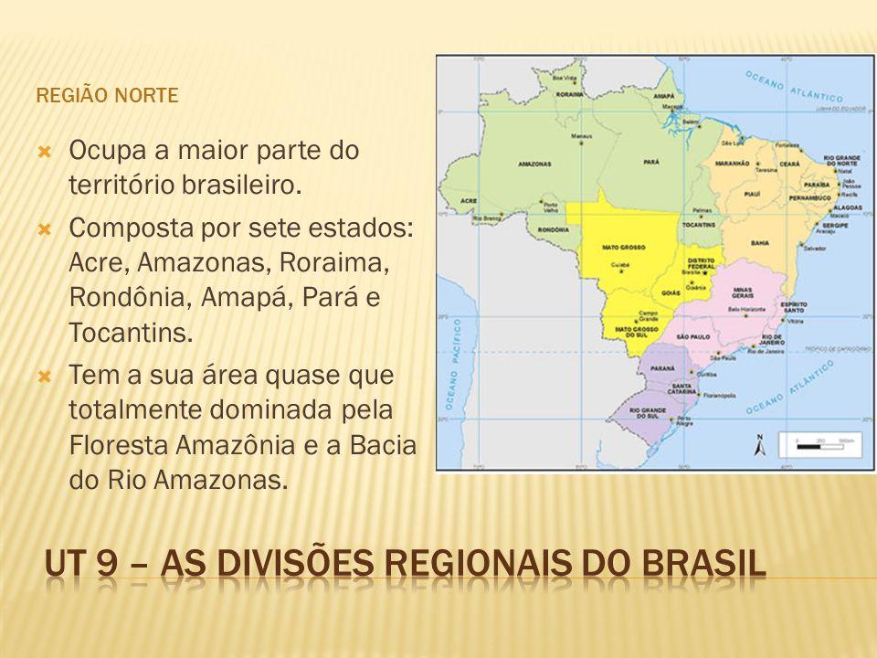 REGIÃO NORTE Ocupa a maior parte do território brasileiro. Composta por sete estados: Acre, Amazonas, Roraima, Rondônia, Amapá, Pará e Tocantins. Tem