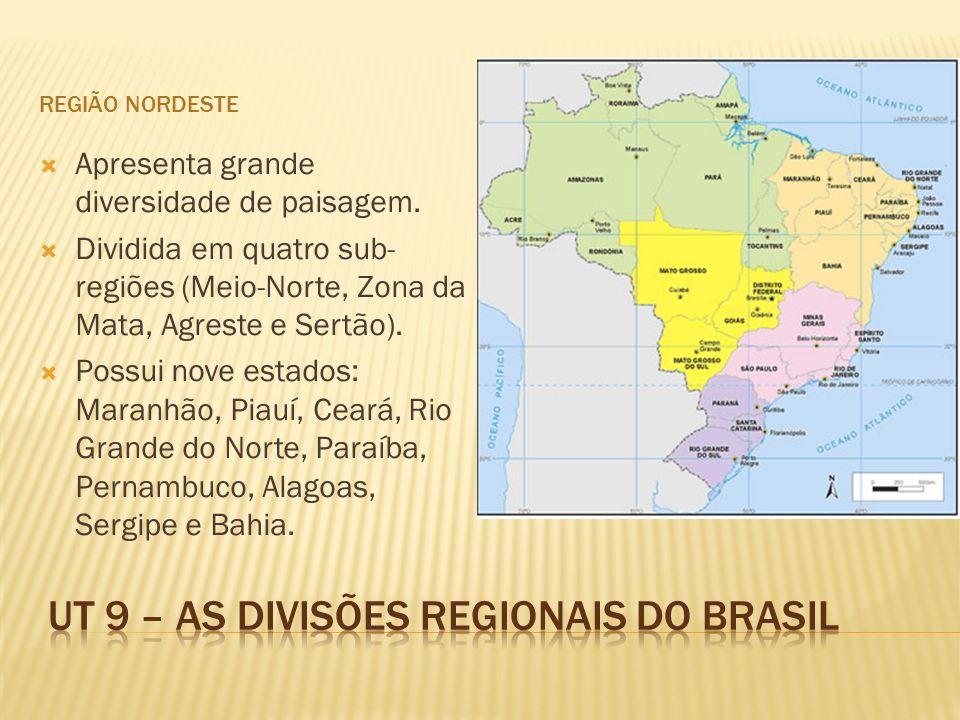 REGIÃO NORDESTE Apresenta grande diversidade de paisagem. Dividida em quatro sub- regiões (Meio-Norte, Zona da Mata, Agreste e Sertão). Possui nove es
